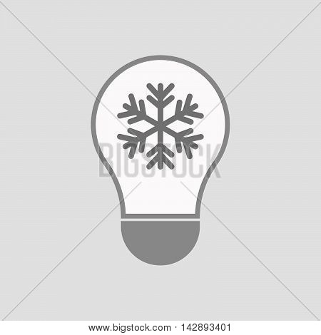 Isolated Line Art Light Bulb Icon With A Snow Flake