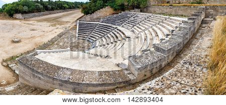 view over ancient Theatre and stadium on Rhodes