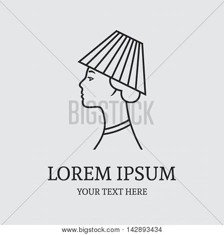 Girl in the hat of lamp logo design vector template. Interior shop symbol concept icon.