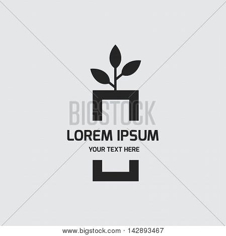 Plant on table logo design vector template. Interior design symbol concept icon.