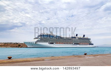 Big cruise ship in sea port, Rhodes Island - Greece