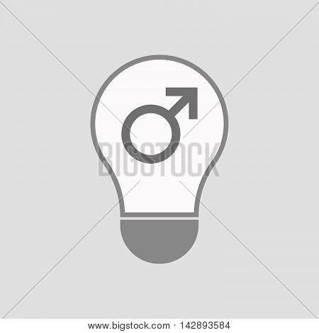Isolated Line Art Light Bulb Icon With A Male Sign