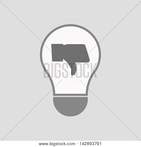 Isolated Line Art Light Bulb Icon With A Thumb Down Hand