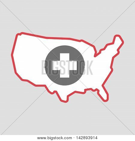 Isolated Line Art  Usa Map Icon With A Round Pharmacy Sign