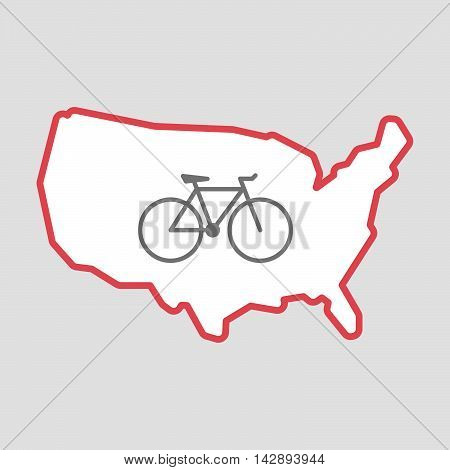 Isolated Line Art  Usa Map Icon With A Bicycle