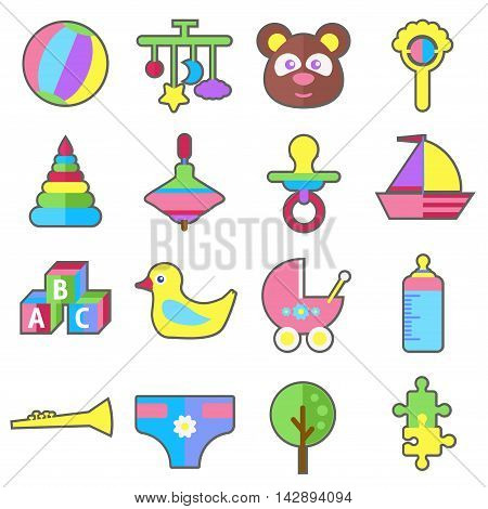 Baby child kid toys and accessories colorful flat vector illustration