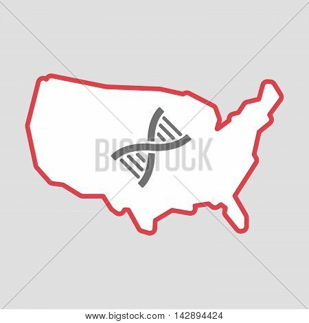 Isolated Line Art  Usa Map Icon With A Dna Sign