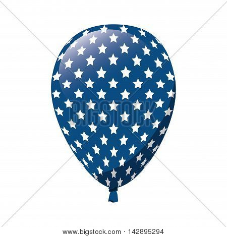 balloon america flag red blue stars white celebration decoration day pride vector illustration  isolated