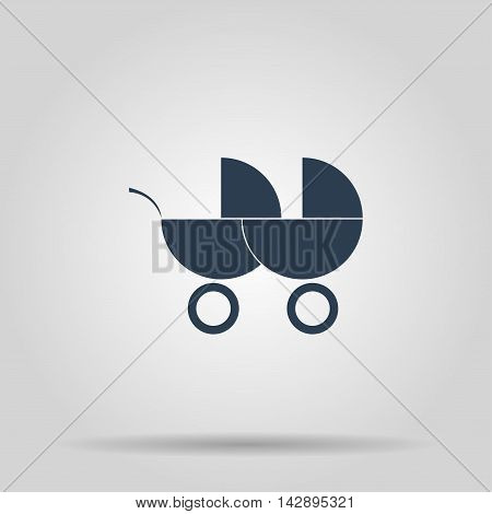 Carriage for two baby web icon. Isolated illustration