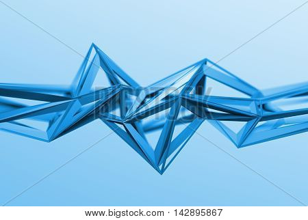 Abstract 3d rendering of chaotic surface. Background with futuristic polygonal shape. Poster with low poly object.