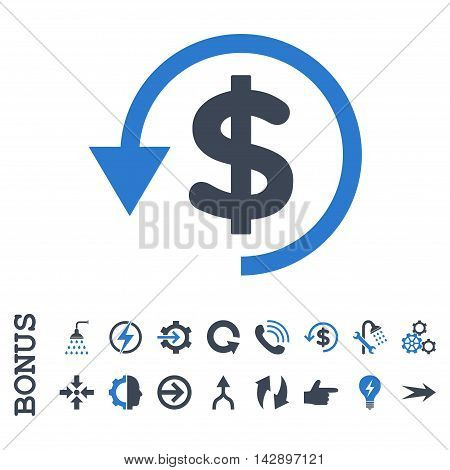 Chargeback vector bicolor icon. Image style is a flat iconic symbol, smooth blue colors, white background.