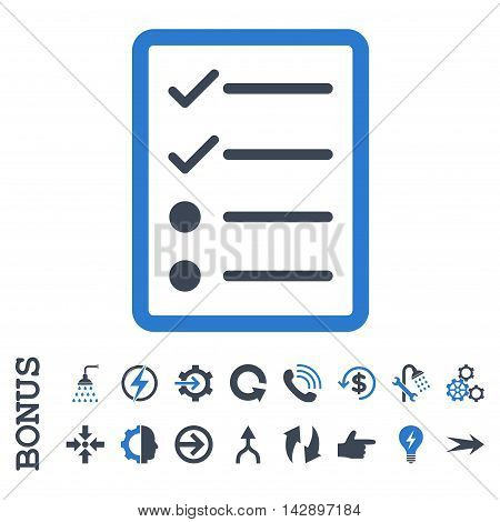 Checklist Page vector bicolor icon. Image style is a flat pictogram symbol, smooth blue colors, white background.