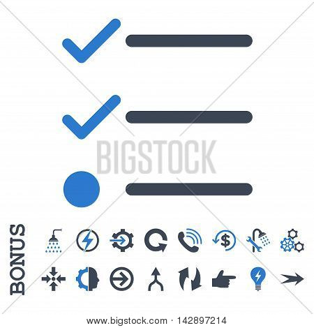 Checklist vector bicolor icon. Image style is a flat pictogram symbol, smooth blue colors, white background.