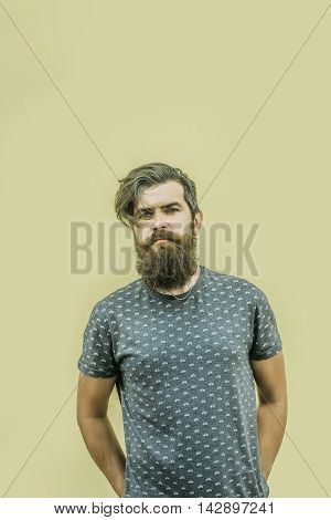 Portrait Of Attractive Man With Long Beard