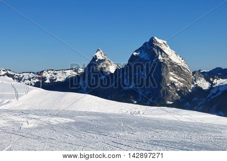 View from the Stoos ski area. Mt Mythen. Winter scene in Switzerland.