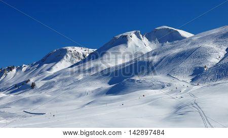 Ski slopes of the Stoos ski area Switzerland. Mt Chalberstockli.