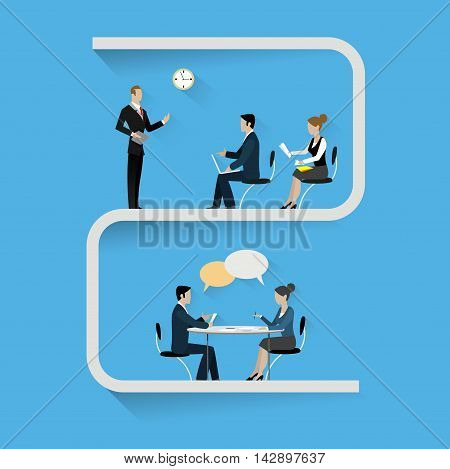 Conference banner set with training master class and interview . Vector illustration