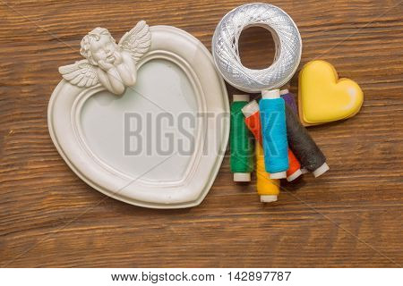 Bobbins Of Thread With Yellow Heart, Angel Photo Frame