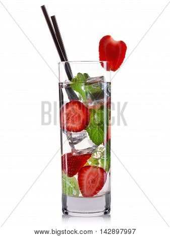 Strawberry mojito cocktail in tall glass isolated on white background.