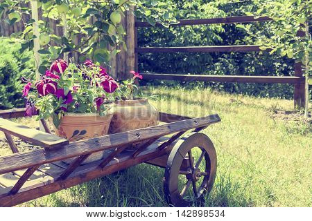 Wheelbarrow Wooden Decoration With Flowers In A Garden