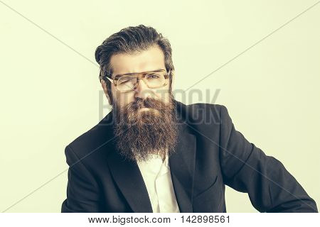 Bearded Man In Teacher Glasses