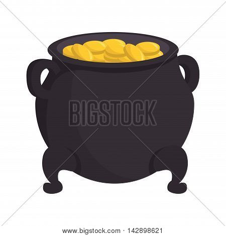 cash pot coins lucky st patrick treasure rich tradition vector illustration isolated