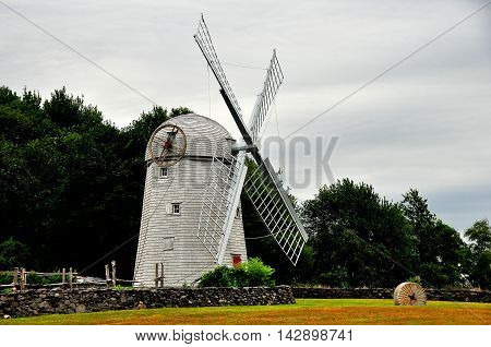 Jamestown Rhode Island - July 18 2015: 1787 Jamestown Windmill a 30 foot high smock mill for grinding corn remained in use until 1896 *