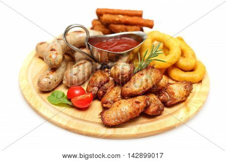 Snacks - chicken wing sausage and squid rings