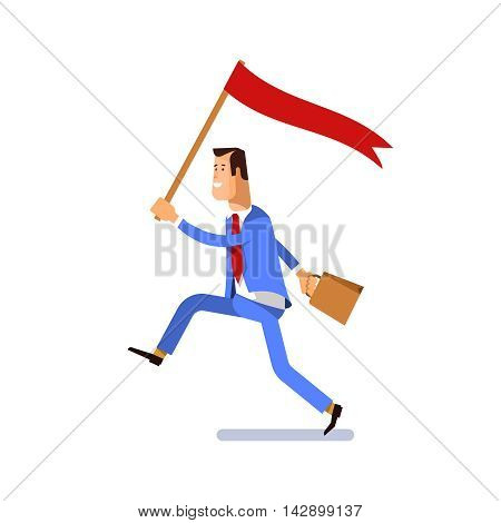 Concept business illustration. Businessman running with flag in hand a symbol of success achievement leadership.
