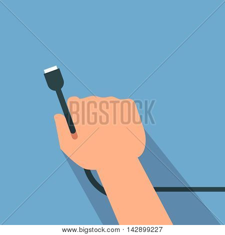 Vector illustration of usb cable icon blue background