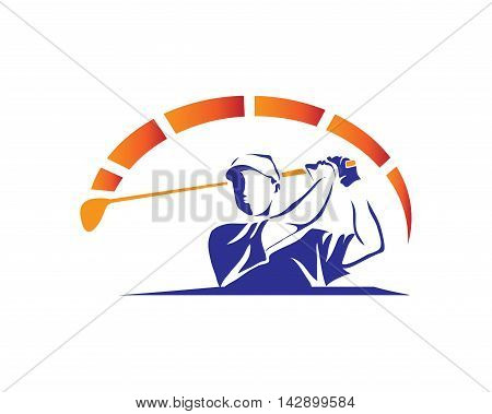 Modern Golf Logo - Maximum Speed Blue Golfer Swing Symbol