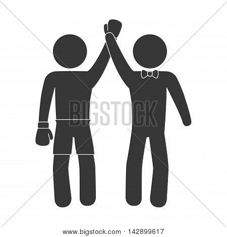 boxing winner man referee hand up gloves sport game champion vector illustration isolated