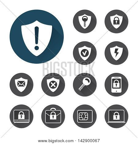Security icons set vector with shadows on white background