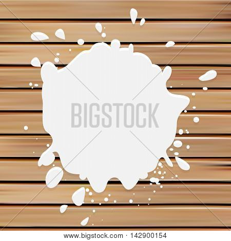 Isolated white color blotch vector logo. Milk logotype. Paint stain illustration on the wooden background