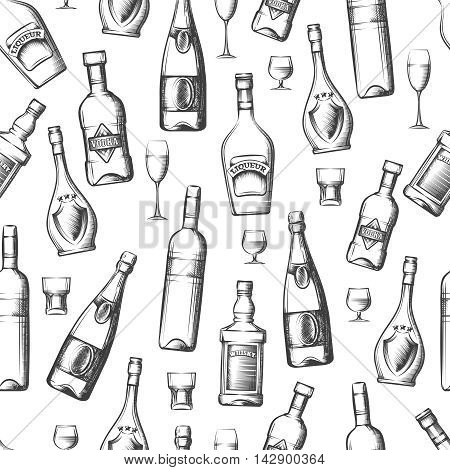 Seamless pattern with hand drawn alcoholic drinks. Vector illustration