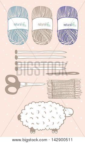 Collection of hand drawn balls of yarn for knitting, sheep shears, and decor elements. Vector background.