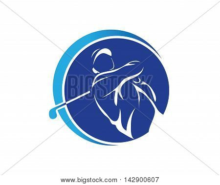 Modern Golf Logo - Blue Swing Golf Symbol