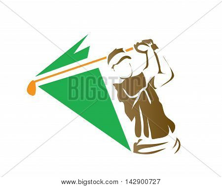 Modern Golf Logo - Green Energetic Golf Swing Symbol
