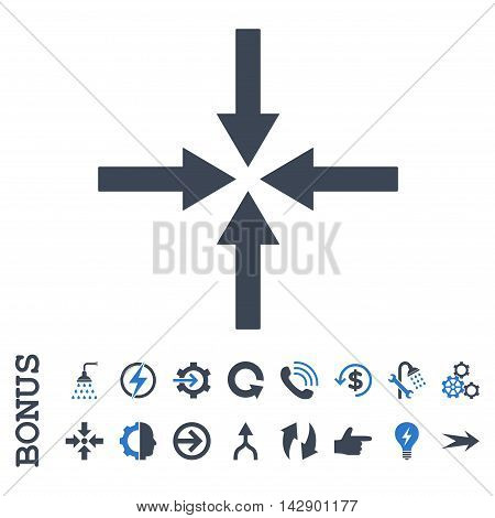 Impact Arrows vector bicolor icon. Image style is a flat pictogram symbol, smooth blue colors, white background.