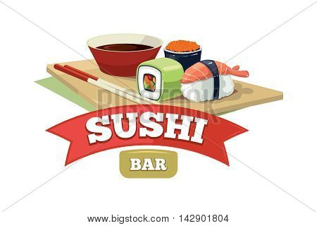 Vector emblem for sushi bar, traditional japan food. tamplate for cover, logo, or advertizing sign design. Illustrations with place for your text.