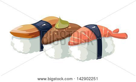Vector illustration set of shrimps with a different stuffing. Sushi traditional japan food. Isolate on white background