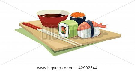 Vector illustration set of traditional japan food on the plate. shrimps, sushi with a different stuffing, soy bean sauce, Chinese chopsticks. Picture Isolate on white background
