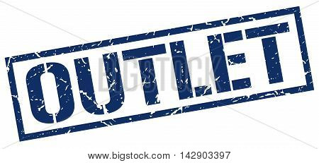 outlet stamp. blue grunge square isolated sign