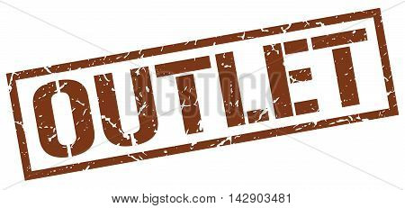 outlet stamp. brown grunge square isolated sign