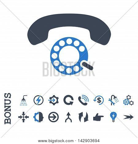 Pulse Dialing vector bicolor icon. Image style is a flat iconic symbol, smooth blue colors, white background.