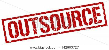 outsource stamp. red grunge square isolated sign