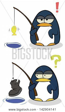 A vector illustration of cartoon little penguins with fishing rod