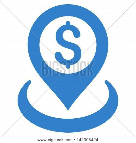 Dollar Placement icon. Vector style is flat iconic symbol with rounded angles, cobalt color, white background.
