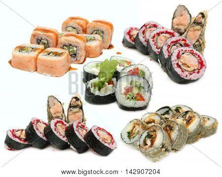 Sushi Roll set isolated Japanese cuisine on white