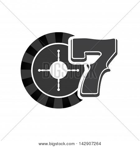 roulette seven casino vegas icon. Flat and Isolated design. Vector illustration